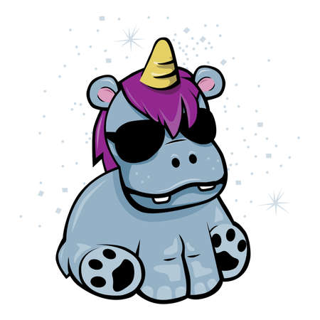 Fake Unicorn. Hippo with pink hair, sunglasses, stardust and fake horn