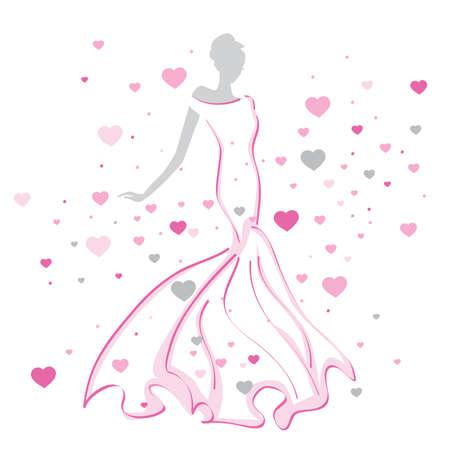beatiful abstract bride Illustration