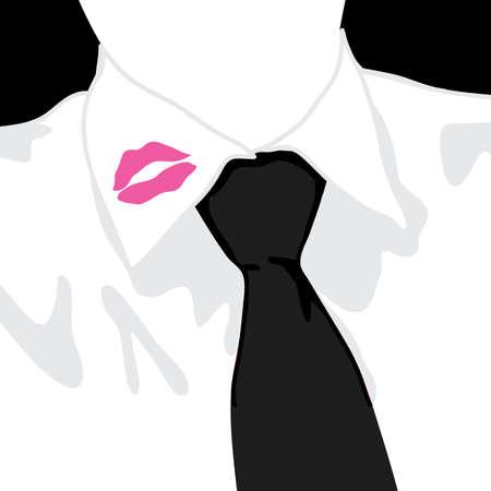 Lipstick on mans collar
