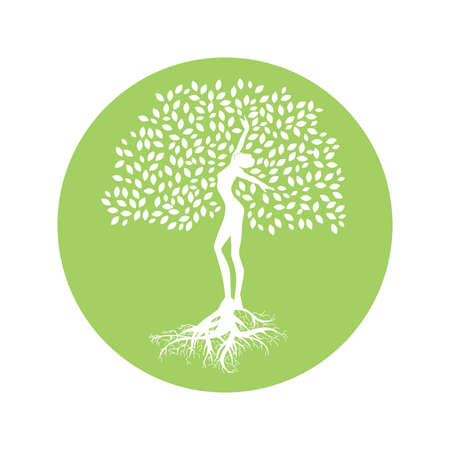 lady tree, connection with nature Vector Illustratie