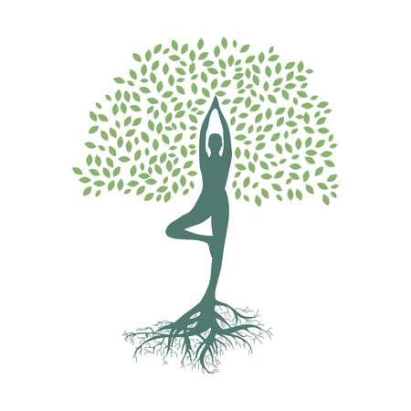 meditatiom, person become tree, connection with nature Ilustração