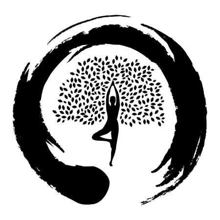 meditatie, persoon wordt boom, verbinding met de natuur Vector Illustratie
