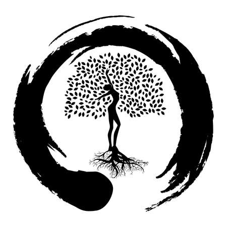 meditatiom, person become tree, connection with nature