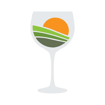 wine glass with vineyard sunset inside