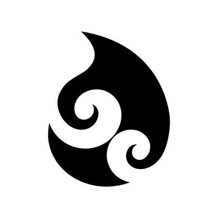 Koru, Spiralform basierend auf silbernem Farnwedel, Maori-Symbol