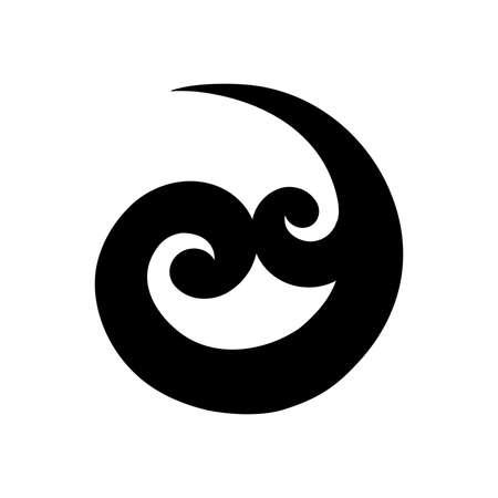 Koru, forma de espiral basada en frondas de helecho plateado, símbolo maorí