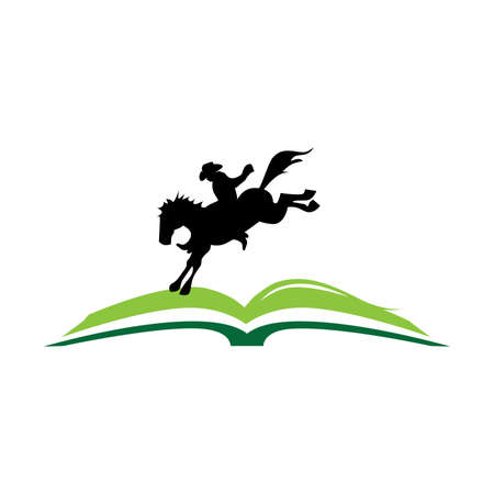 open book with cowboy and his horse Vectores