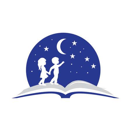 Book, kids, moon and stars