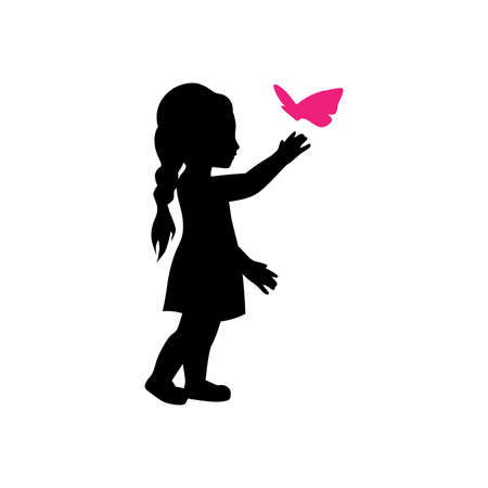 little girl and pink butterfly