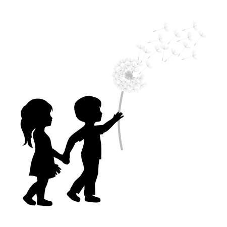 Miniaturmädchen und -junge mit Löwenzahnblume Vektorgrafik