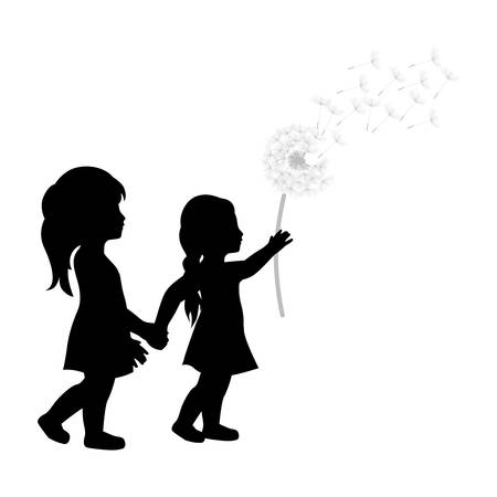 miniature girls with dandelion flower Illustration