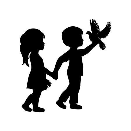 niña, niño y pájaro Ilustración de vector