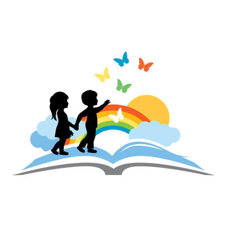 open book, kids and beautiful rainbow sky with butterflies