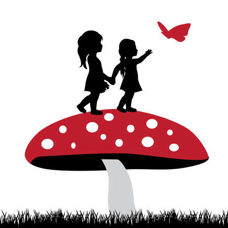 two miniature girls, mushroom and butterfly