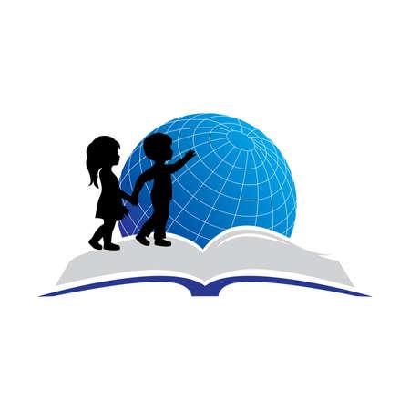 kids, open book and globe