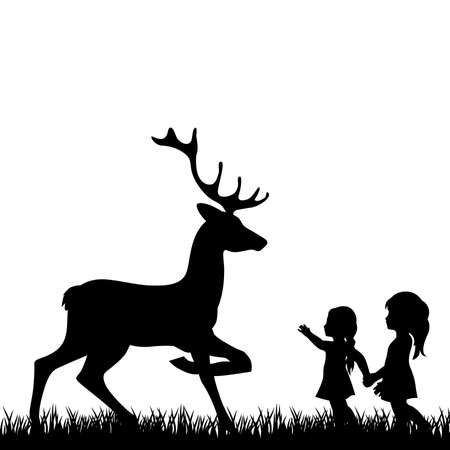 little girls with deer