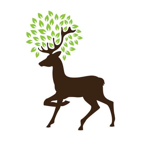 deer with green leaves, antlers looks like a tree, vector Vector Illustratie