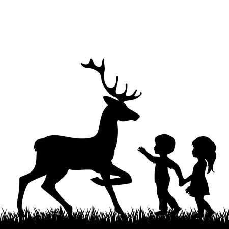 niño y niña con ciervos