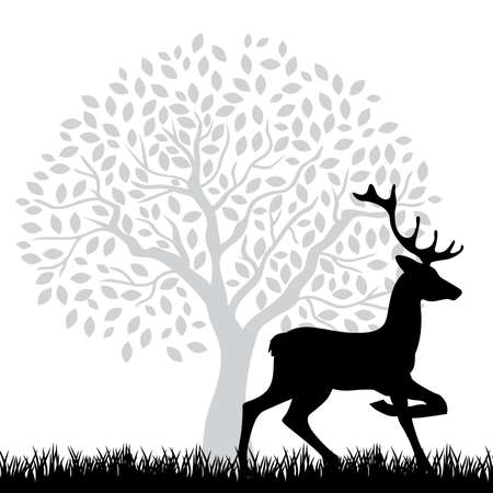 black deer, vector Illustration