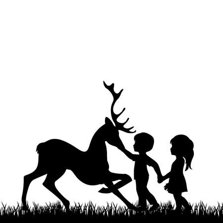little boy and girl with deer Ilustrace
