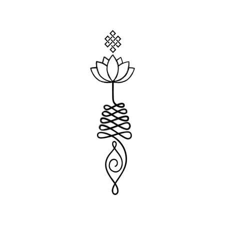 Unalome, boeddhistisch symbool voor levenspad Vector Illustratie