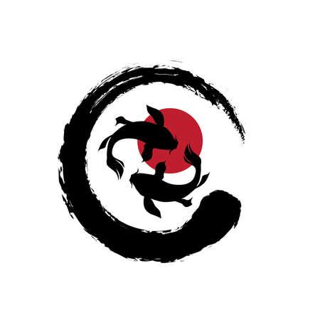 Zen Symbol and Koi Fishes