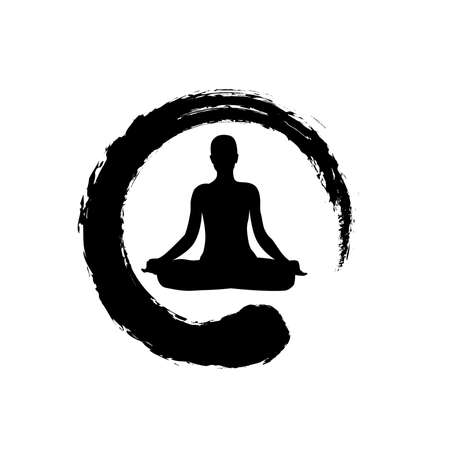 zen symbol and meditating person,  icon design