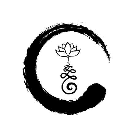 Buddhist Symbol for life path with lotus flower inside zen symbol