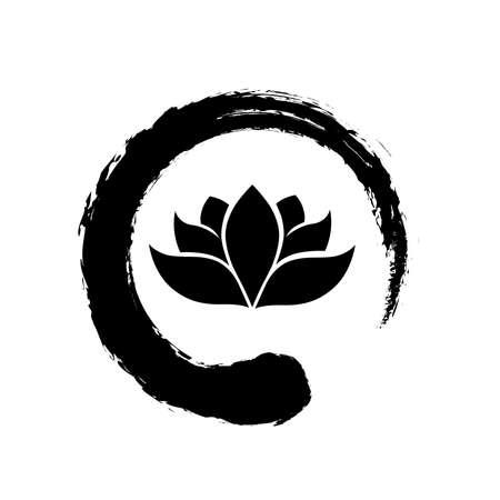 Lotus flower inside zen symbol, Illusztráció