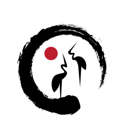Cranes Icon. Feng Shui, Bird of happiness and good luck inside zen Illustration
