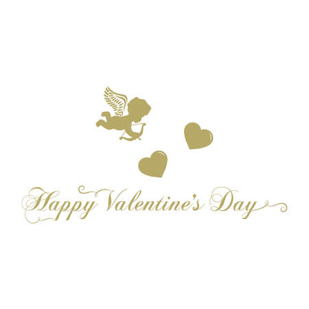 Typography: Happy Valentines Day with cupid