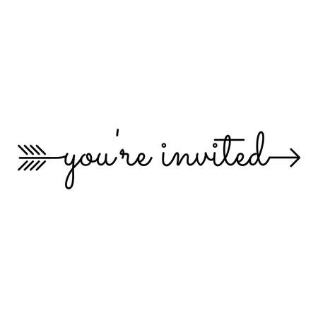 youre invited. typography, starts an ends with arrow