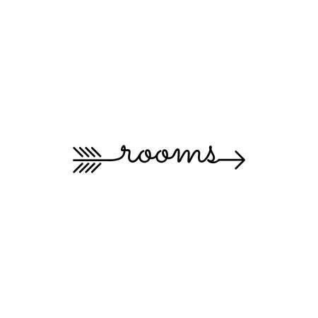 typography: word  rooms start and ends with arrow