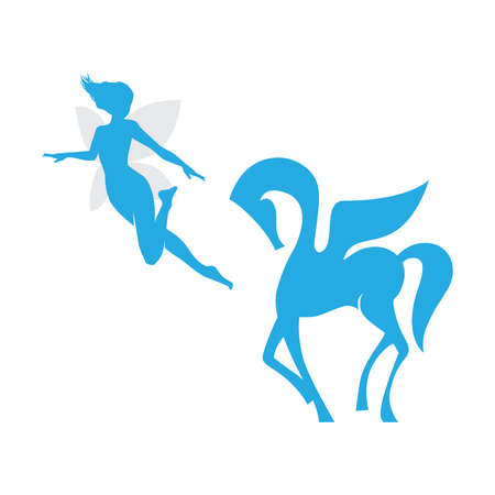 fairy and winged horse Иллюстрация