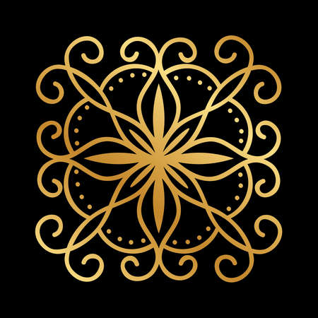 Abstract gold flower Oriental pattern Vecteurs