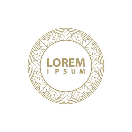 modern  frame, gold leaves Illustration