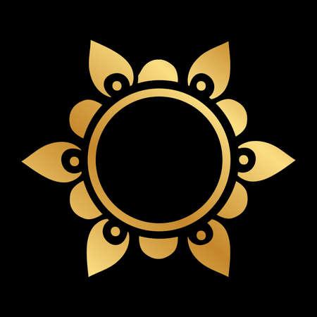 gold floral frame, vector Illusztráció