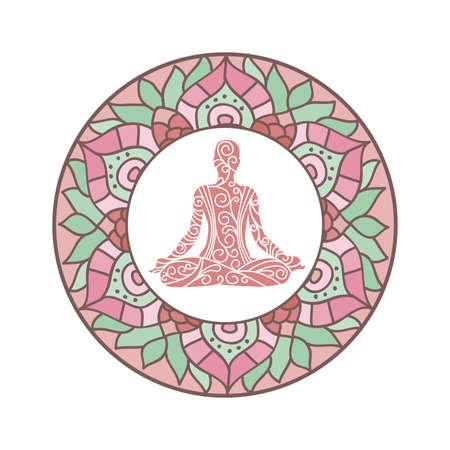 mandala with meditating person inside Ilustrace