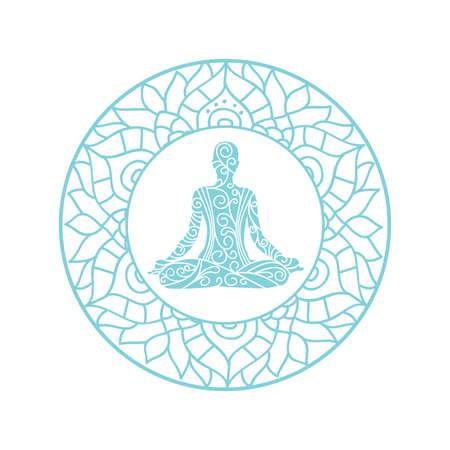 mandala avec personne méditant à l'intérieur