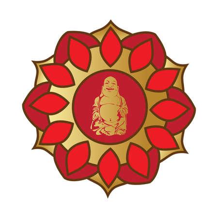 mandala with gbold Buddha