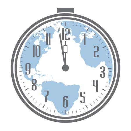 Alarm clock and blue planet Earth, vector Stok Fotoğraf - 133378114
