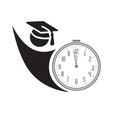 student with clock, vector illustration