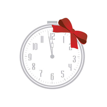 alarm clock with red gift bow, vector Stok Fotoğraf - 133378110