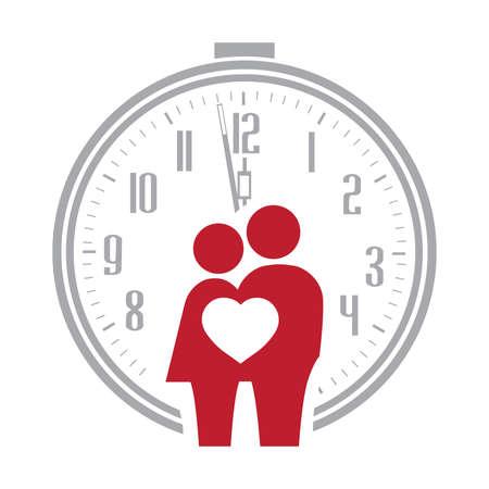abstract human couple, heart and alarm clock, vector
