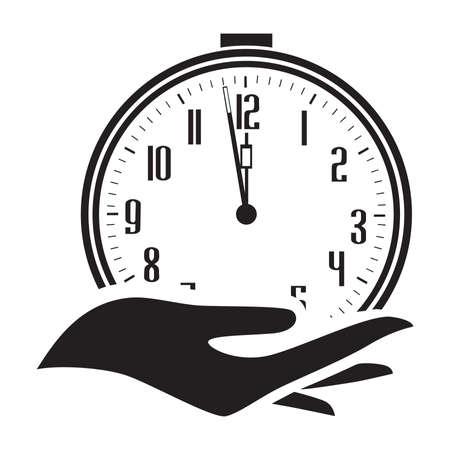 human hand holding alarm clock, vector