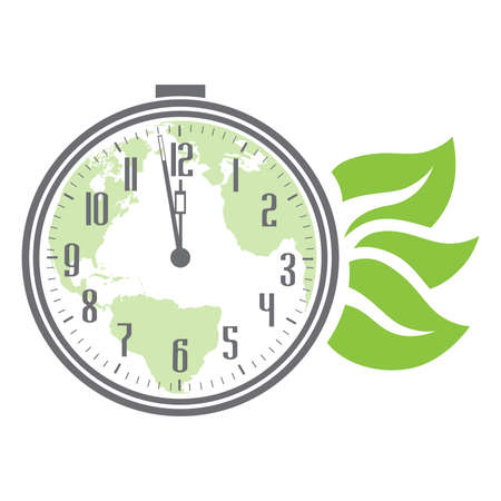 planet earth inside alarm clock and green leaves, vector