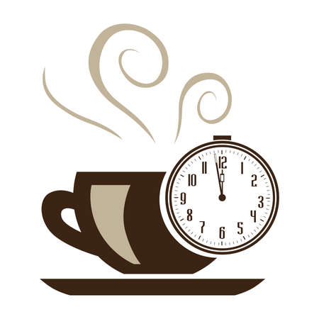 alarm clock and cup of coffee, vector