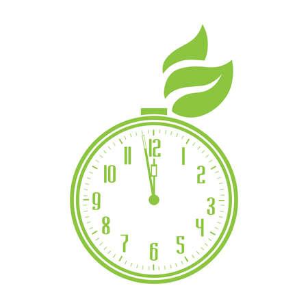 green leaves and alarm clock, vector artwork Stok Fotoğraf - 133378118