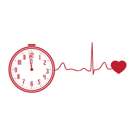 clock and heart, vector graphic design element