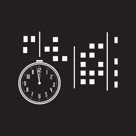 clock and city, night scene. vector